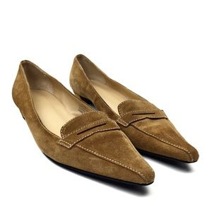 J. Crew Pointy Toe Suede Penny Loafer Tan 8.5